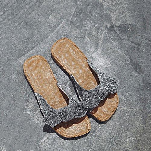 La Zapatos Planos Color Plata Oro Nuevas Y LIUXUEPIN Tamaño Ropa Zapatillas Exterior Beach 35 Con Moda Sandalias Nueva Bow UOnTInw0q