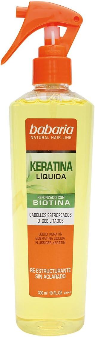 Babaria Natural Hair Line - Keratina Líquida reforzado con biotina - sin aclarado para cabellos estropeados - 300 ml