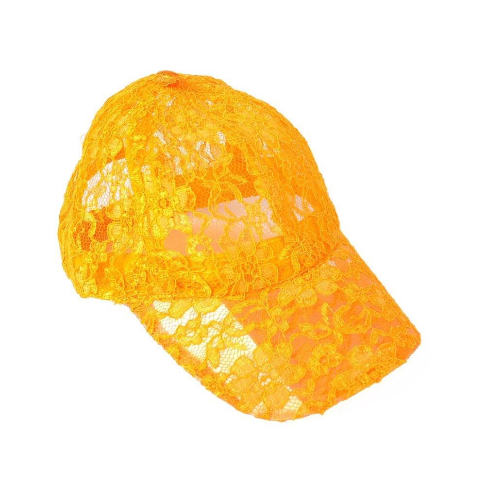 Katuo Women's Lace Baseball Hat Cap Floral Pattern Mesh Cap (12pcs, Orange)