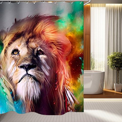 Powerful Lion Shower Curtain, Curved Lion Face Focused Eyes Meditating in Breeze Smooth Fur Mane against Gilding Galaxy Stars Polyester Waterproof Mildew Resistant Bath Curtain with C-type (Painting A Monkey Face For Halloween)