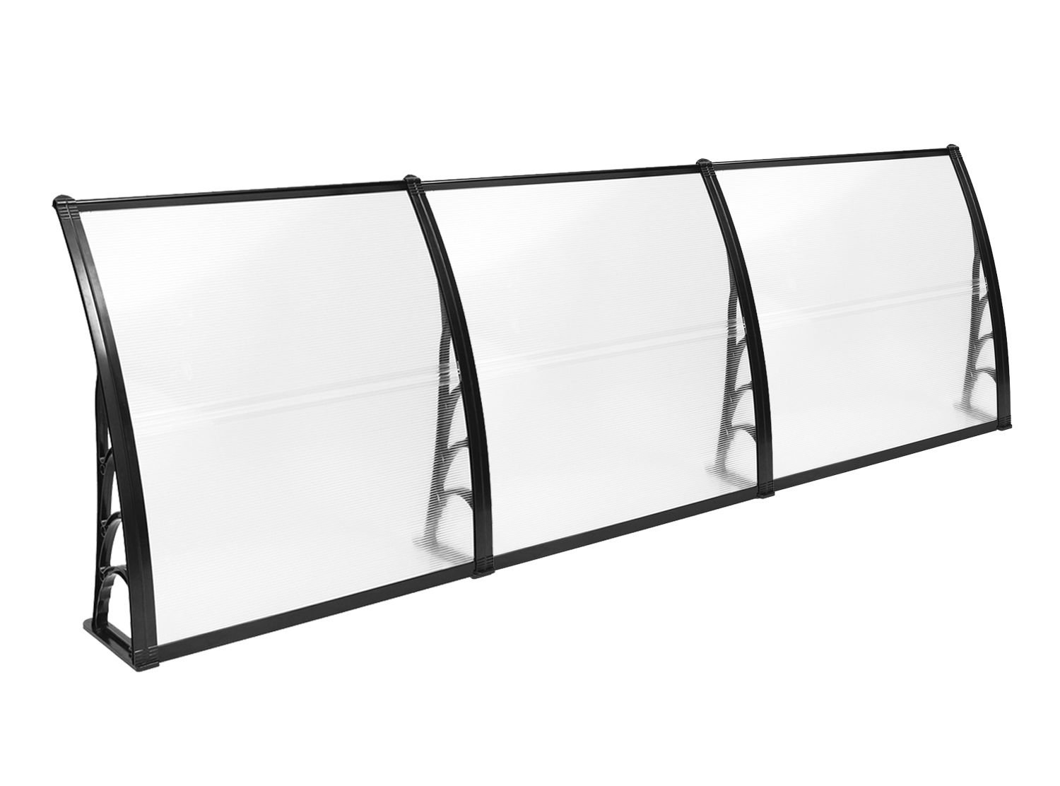 MCombo Window Awning 38''×116'' Overhead Awning Outdoor Polycarbonate Front Door Patio Cover Garden Canopy PC Transparent Sun Board, 6055-4012BK