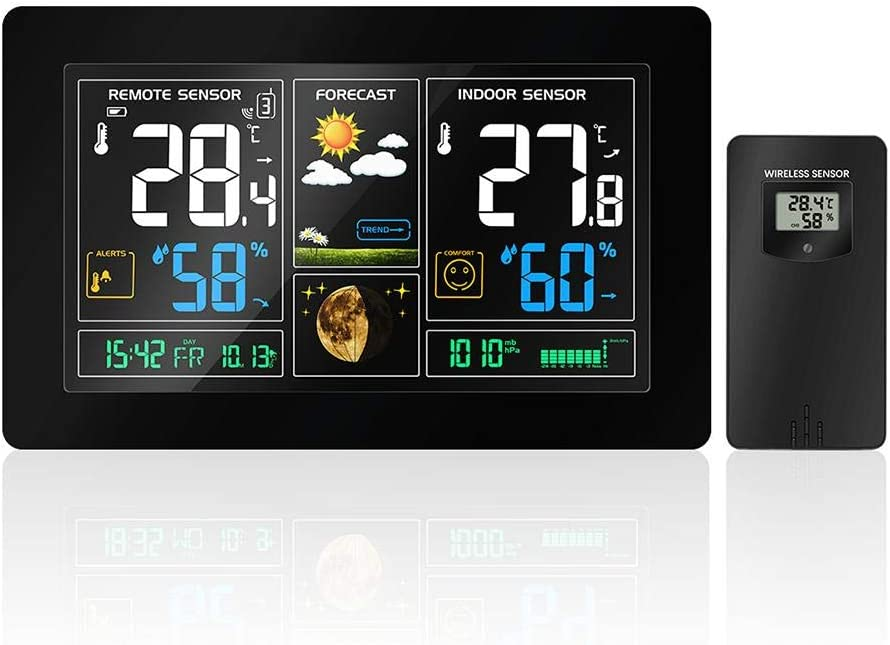 Fovolat | Digital Weather Station with Large LCD Screen, Wireless Controlled Wall Clock, Atomic Clock, Alarm Clock, Weather Forecast, Indoor/Outdoor Temperature, Barometer