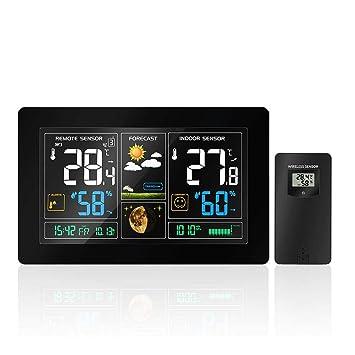 PROKTH | Estación meteorológica Digital con Pantalla LCD Grande, Reloj de Pared con Control inalámbrico, Reloj atómico, Reloj Despertador, pronóstico del ...