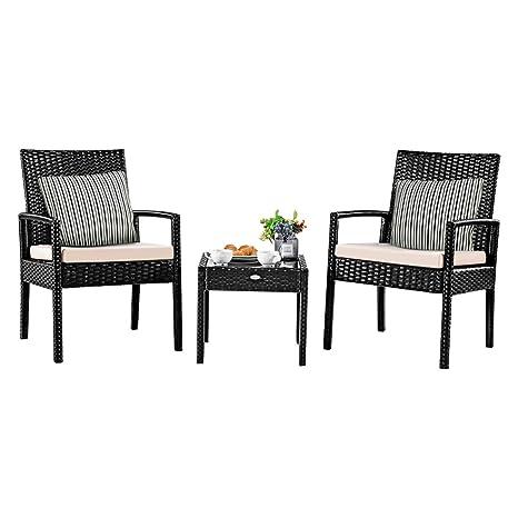 Amazon.com: Tangkula - Juego de muebles de mimbre para patio ...