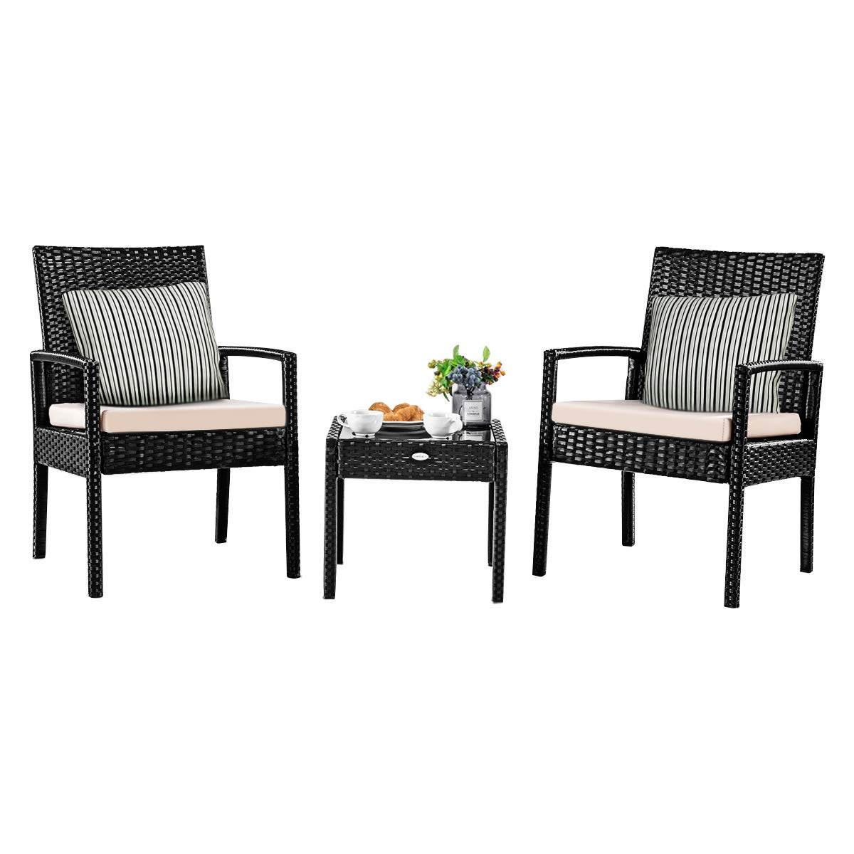 Tangkula 3 Piece Patio Furniture Set, Outdoor Wicker Rattan Conversation Set, 2 Cushioned Chairs & End Table, Backyard Garden Lawn Chat Set, Chill Time Modern Outdoor Furniture