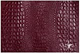 PRIMO PELLE leather hides, CROCODILE Collection, genuine full grain embossed cow skins! various colors & sizes. [17 - 21 sq ft, RED]