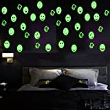 2 Sheets Glow in the Dark Wall Decals Stickers for Windows, Wall or Car Decoration Removable DIY Home Art Light Smile Face Light Peel Stick for Kids Babys Bedroom