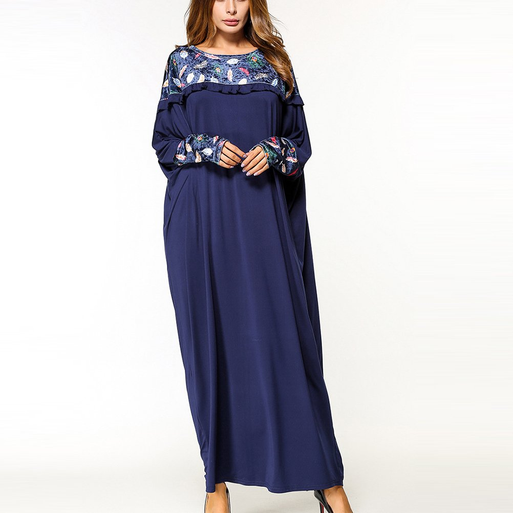 45aaaab42a0dd Zhhlinyuan Casual Cocktail Flowy Robe Longue Abaya Femme Musulmane Long Maxi  Evening Party Floral Baggy Gown