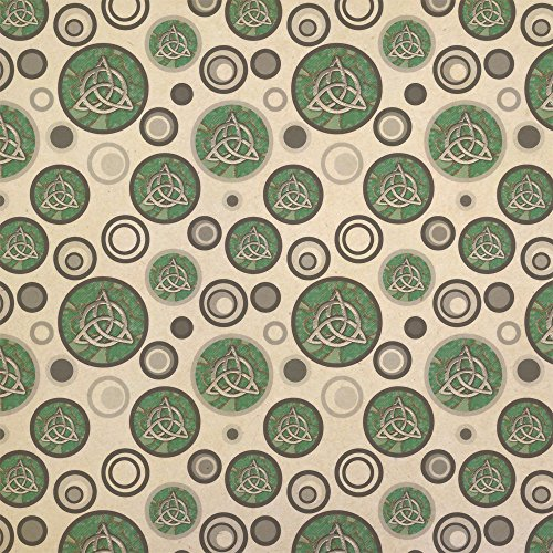 Celtic Trinity Circle Green Clovers Kraft Present Gift Wrap Wrapping Paper