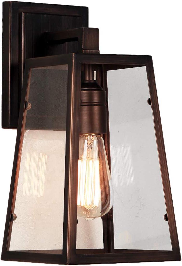 JRS Outdoor Wall Lantern Outdoor Waterproof Modern Filament Wall Lamp IP44 Brushed Bronze