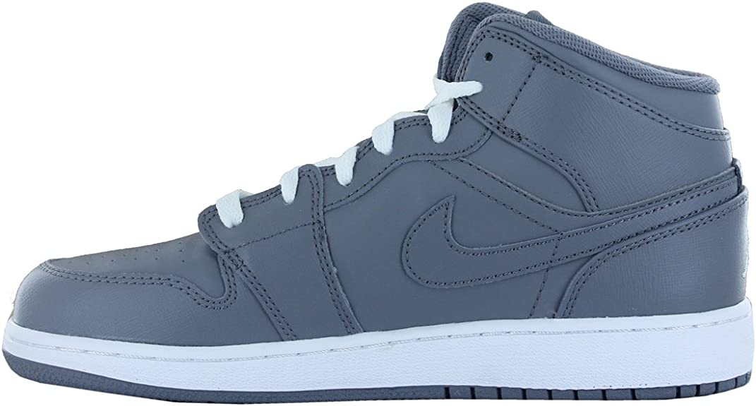 Nike Air Jordan 1 Mid Grey Youth GS Trainers Size 38 EU