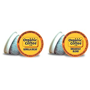 The Organic Coffee Co. Gorilla DECAF 80 Ct Natural Water Processed Medium Light Roast Compostable Coffee Pods & Breakfast Blend 36 Ct Medium Light Roast Compostable Coffee Pods