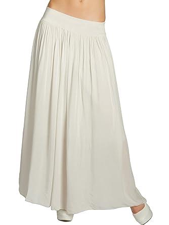 be3ea94d026703 CASPAR RO012 Leichter Langer Damen Sommerrock, Farbe:beige, Größe:One Size