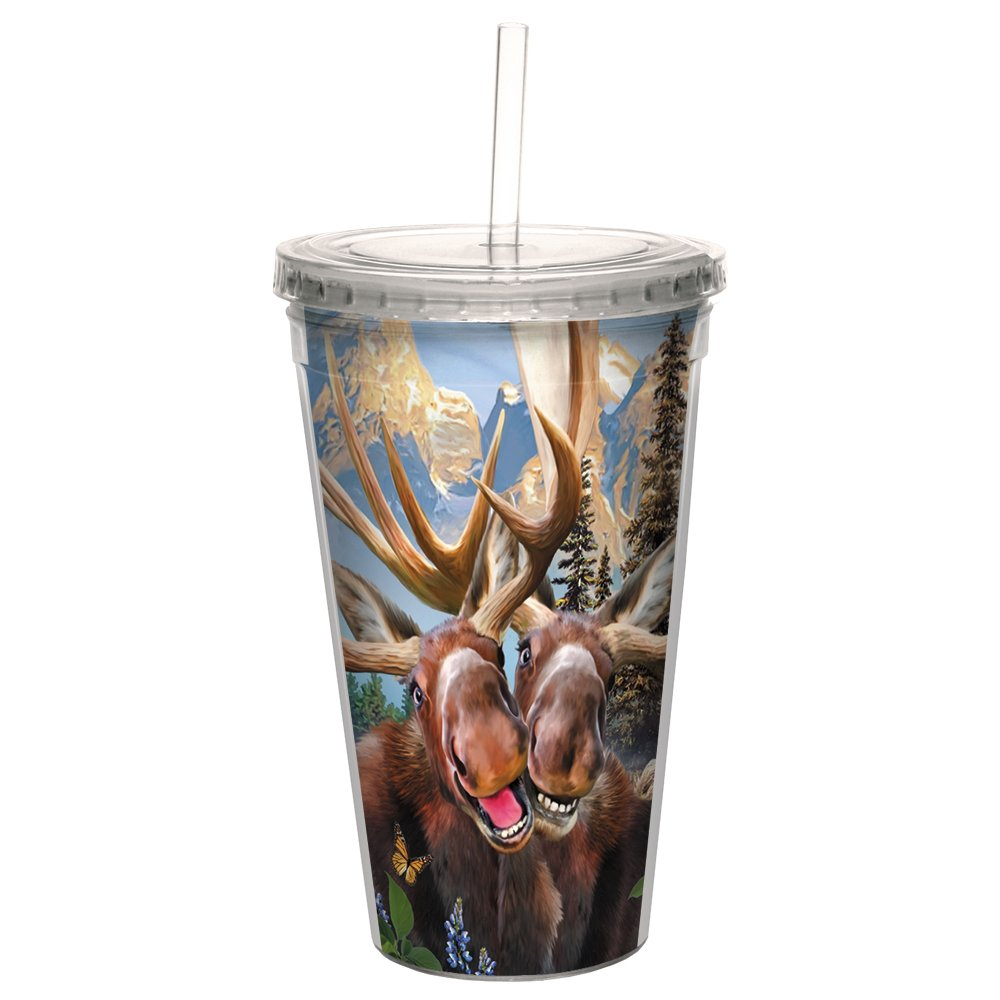 Tree-Free Greetings CC98915 Cool Cups, Double-Walled PBA Straw and Lid Travel Insulated Tumbler, 16 Ounces, Two Moose Selfie