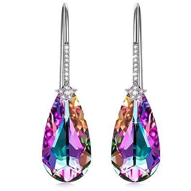 Pendientes de plata con cristal de Aurora Boreal de Swarovski - INCLUYE CAJA DE REGALO.