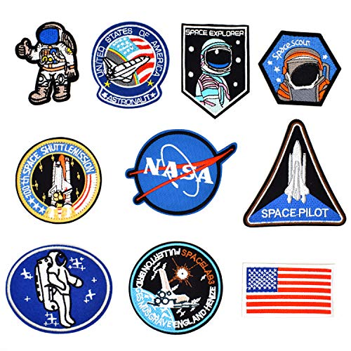 Nasa Patch - Riao-Tech 10pcs NASA Space Pilot Embroidered Patch Set, Sew On/Iron On Patch Applique Patches