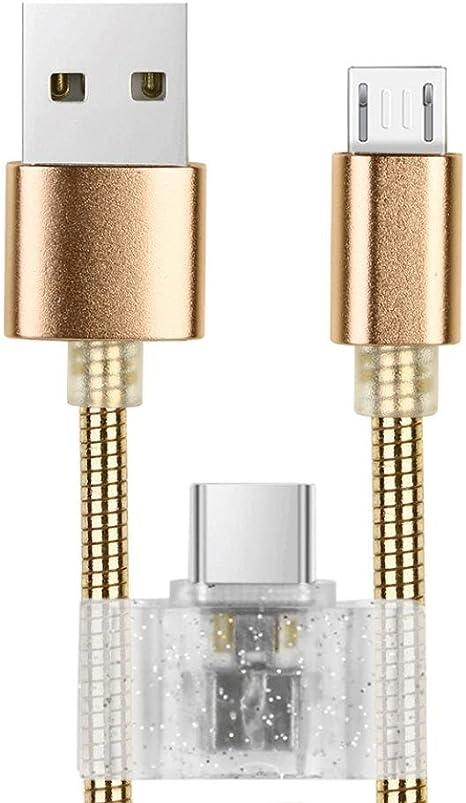 Cable de carga de datos y adaptador para teléfono inteligente, cable de carga y sincronización USB C y cable micro USB para smartphone., dorado: Amazon.es: Deportes y aire libre