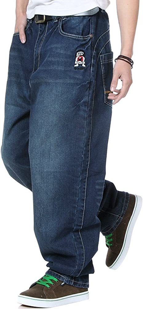 QBO Men's Loose Jeans Hip Hop Baggy Denim Pants