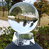 Toys : SunAngel 90mm/3.54inch K9 Clear Crystal Ball Globe with Free Crystal Stand for Feng Shui/Divination or Wedding/Home/Office Decoration (90MM with Crystal Stand)