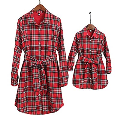 PopReal Mommy and Me Plaid Self Tie Shirt Dress Family Matching Clothes