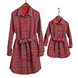 PopReal Mommy and Me Plaid Self Tie T-Shirt Dress Family Matching Clothes