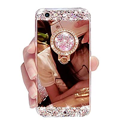huge selection of fb735 11fef iPhone 7 Bling Case, Black Lemon Luxury Diamond Soft Rubber Crystal  Rhinestone Glitter Mirror Case for Girls with Ring Stand (iPhone 7, Rose  Gold)