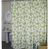 Stall Shower Curtain, Welwo Fabric Shower Curtain Liner Set with Hooks,Rings for Bathroom - 36 x 72 inches, Green White Ivy Leaves
