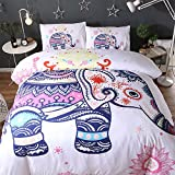 (#003) Mandala Comforter Bedding Cover Colorful Elephant Boho India Duvet Covers Set