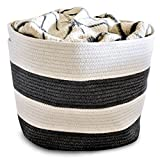 OrganizerLogic Storage Baskets - Large 15'x15'x13' Cotton Rope Storage Bins for Organizing Toys, Baby, Kids, Laundry - Natural Woven Basket (Gray)