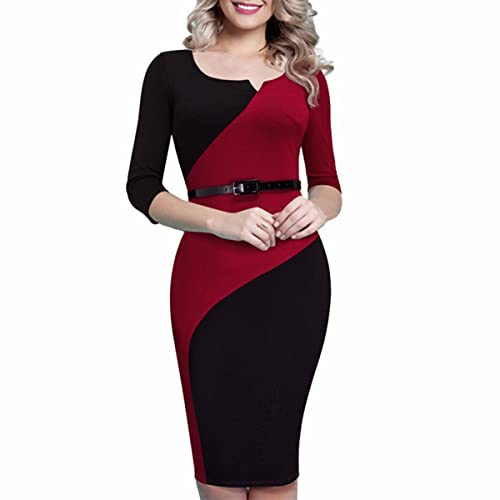 Women's 3/4 Sleeves Colorblock Patchwork Bodycon Wear to Work Office Cocktail Party Pencil Dress