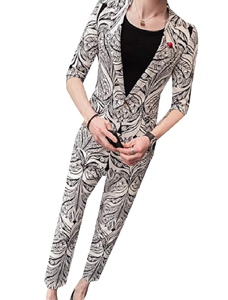 HEFASDM Men Single Button Print 3//4 Sleeve Blazer Jacket /& Trousers Suit Set