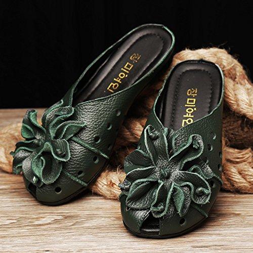 Piscina Baotou estate Similpelle Infradito Verde Casual Donna Fiori flat fondo confortevole morbido AWXJX qnXxEUdwFE
