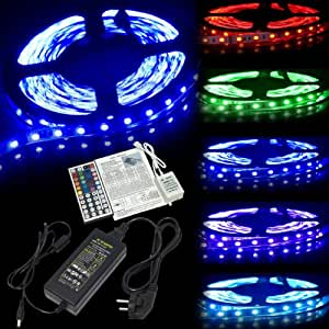 XCSOURCE®Cinta de Luz LED de 5M 300LEDs 5050 RGB MultiColor de 12V Control Remoto IR Set de Fuente LD135