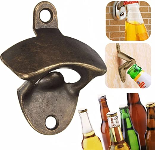 Amazon Com Vintage Wall Mounted Bottle Opener Bronze Beer Bottle Cap Opener With Two Screws Kitchen Dining