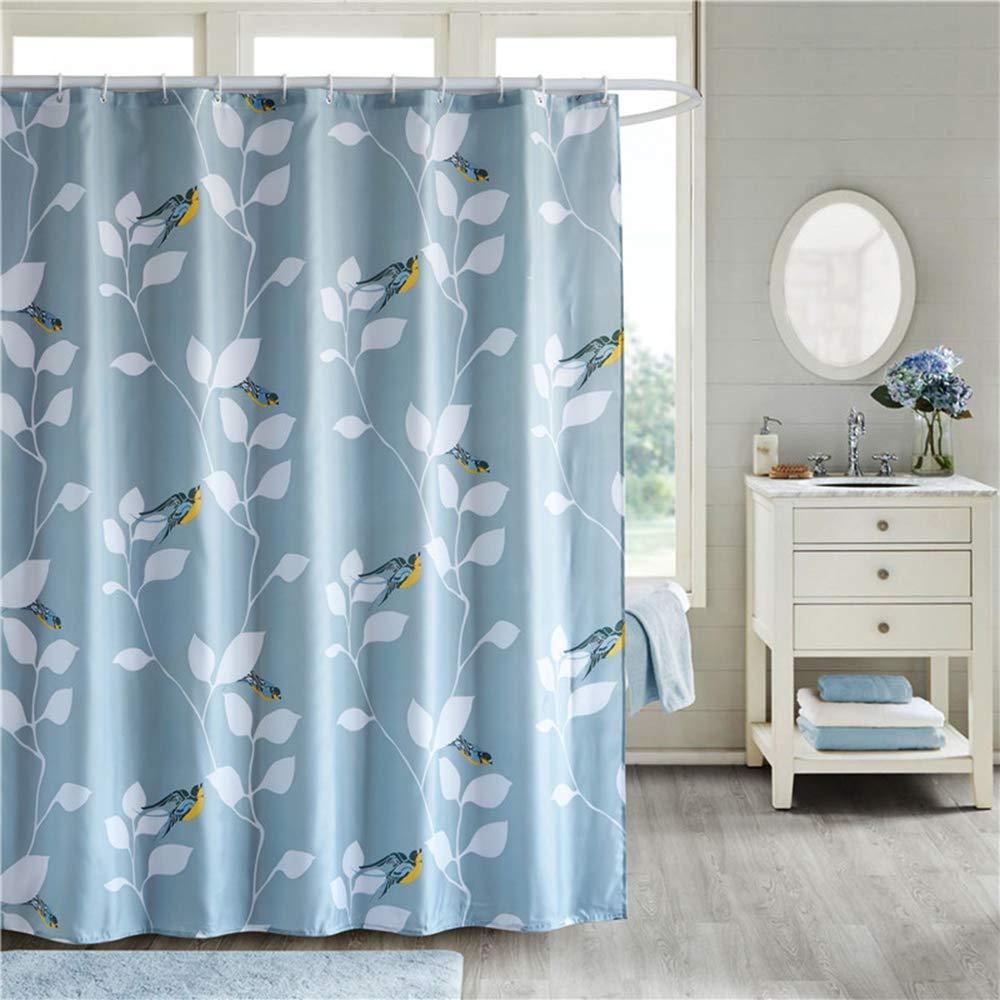 ufengke Tenda Doccia Foglie di Uccelli con 12 Ganci Blu Tende per Doccia in Tessuto Impermeabile Resistente alla Muffa per Il Bagno 180x180cm