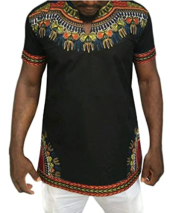 0e8e65de7 Amazon.com: Mens Dashiki African Shirt Casual Short Sleeve T Shirt Tribal Print  Tee V Neck Floral Blouse Top: Clothing