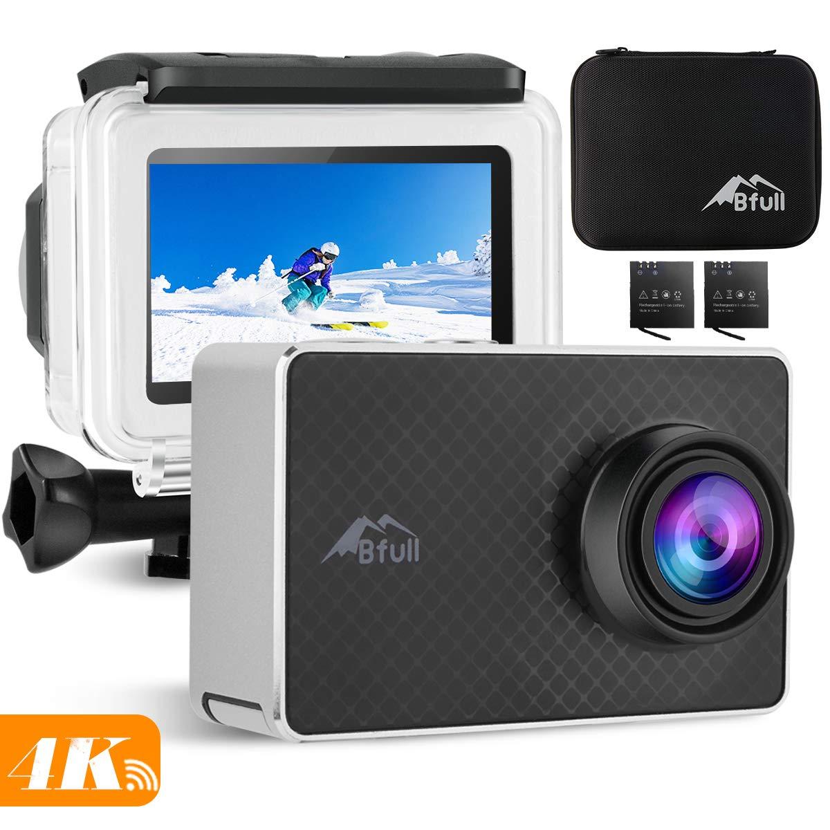 BFULL 2.45 Touchscreen 4K Action Cam, 20MP WiFi Action Ultra HD Sport Camera Unterwasser wasserdicht Camcorder 170° CMOS Sensor 2 bessere Batterien 1050Mah, Tragetasche und Befestigungszubehör GRP24