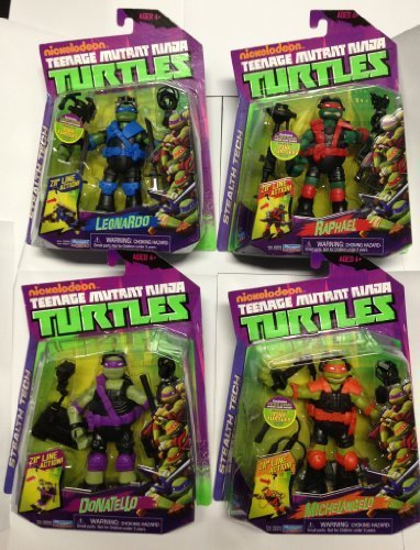 Teenage Mutant Ninja Turtles Stealth Tech Action Figures Set of 4 [Leonardo, Michelangelo, Raphael & Donatello]