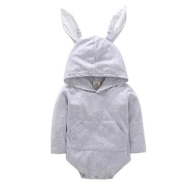 Amazon.com: Disfraz de conejo unisex con capucha para recién ...