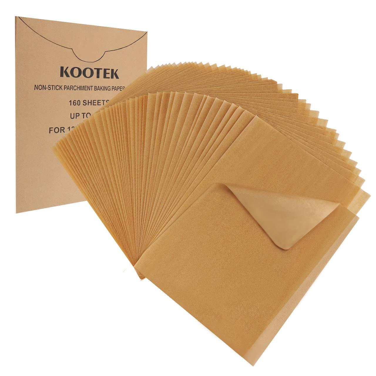Kootek 160 Pcs Parchment Paper Unbleached Baking Sheets Pre-cut Parchments Sheet Liner, Non-stick for Baking Cooking Steaming