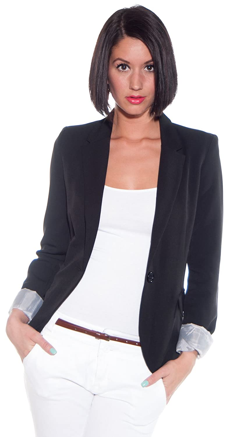 Ambiance Women's Cuffed Sleeve One Button Boyfriend Blazer at ...
