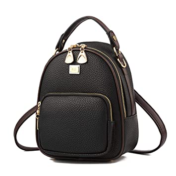 e775dd519f2 Amazon.com  Gashen Women s Mini PU Leather Backpack Purse Casual Drawstring  Daypack Convertible Shoulder Bag (black)  GaShen