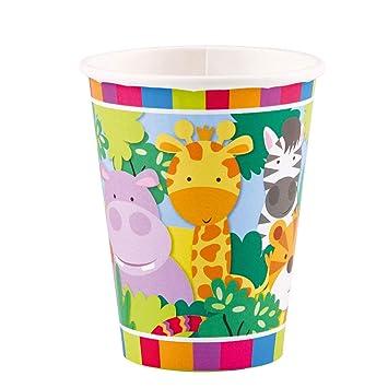 NET TOYS 8 Vasos de Fiesta Animales de la Selva - 250ml ...