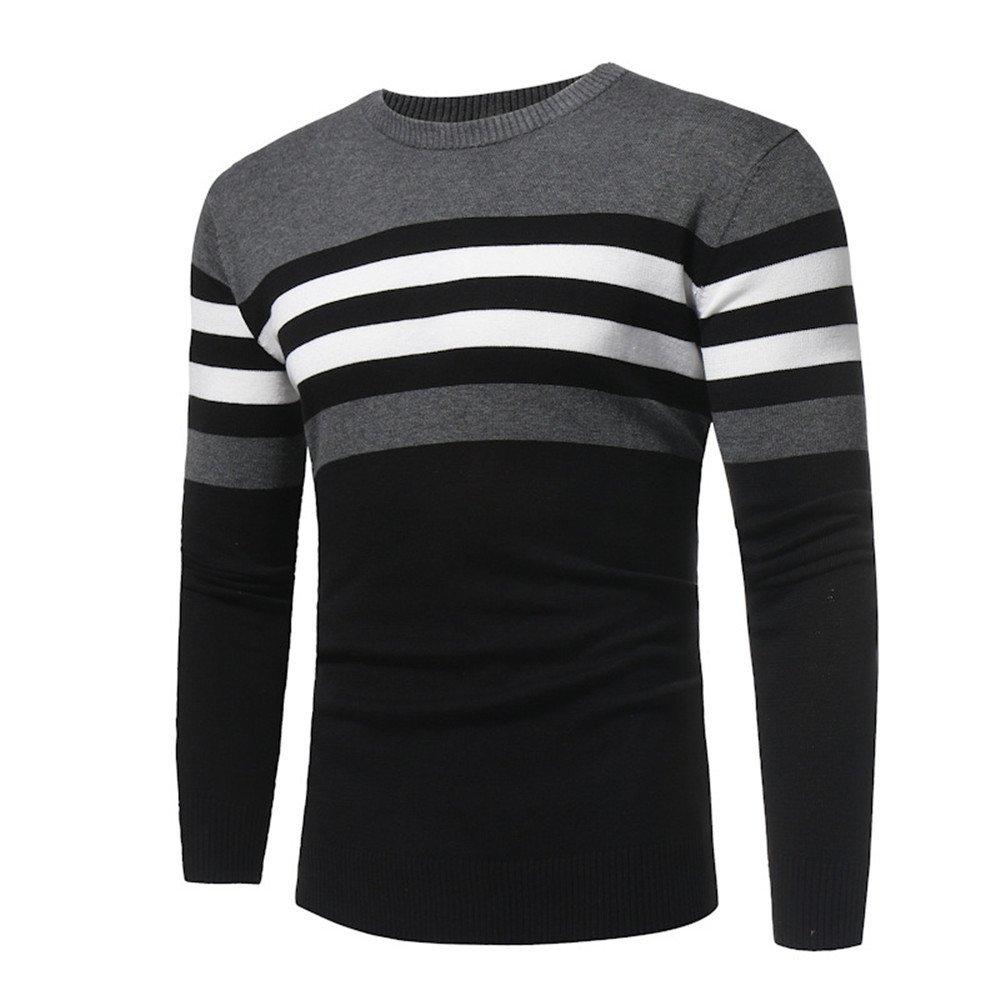 Gndfk Casual - Mode - Pullover, Reine Farbe Streifen Kragen, Lange ärmel männer Pullover Pullover,schwarz,m