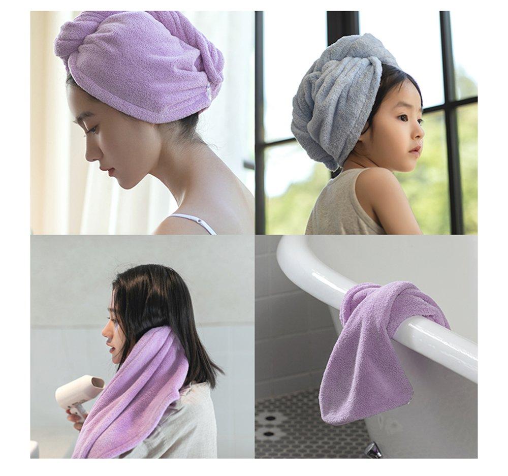 Asciugamani Assorbente Doccia con Pulsante per Tutti i Tipi di Capelli e Lunghezze Violet Confezione da 1 LeerKing Asciugamani per Capelli a Turbante Microfibra ad Asciugatura Rapida