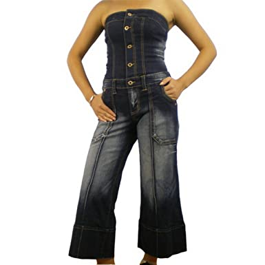 8b88fc6fd33 Women s Baby Phat dark wash tube strapless cropped denim gaucho jumpsuit -  presented by KLS Kimora