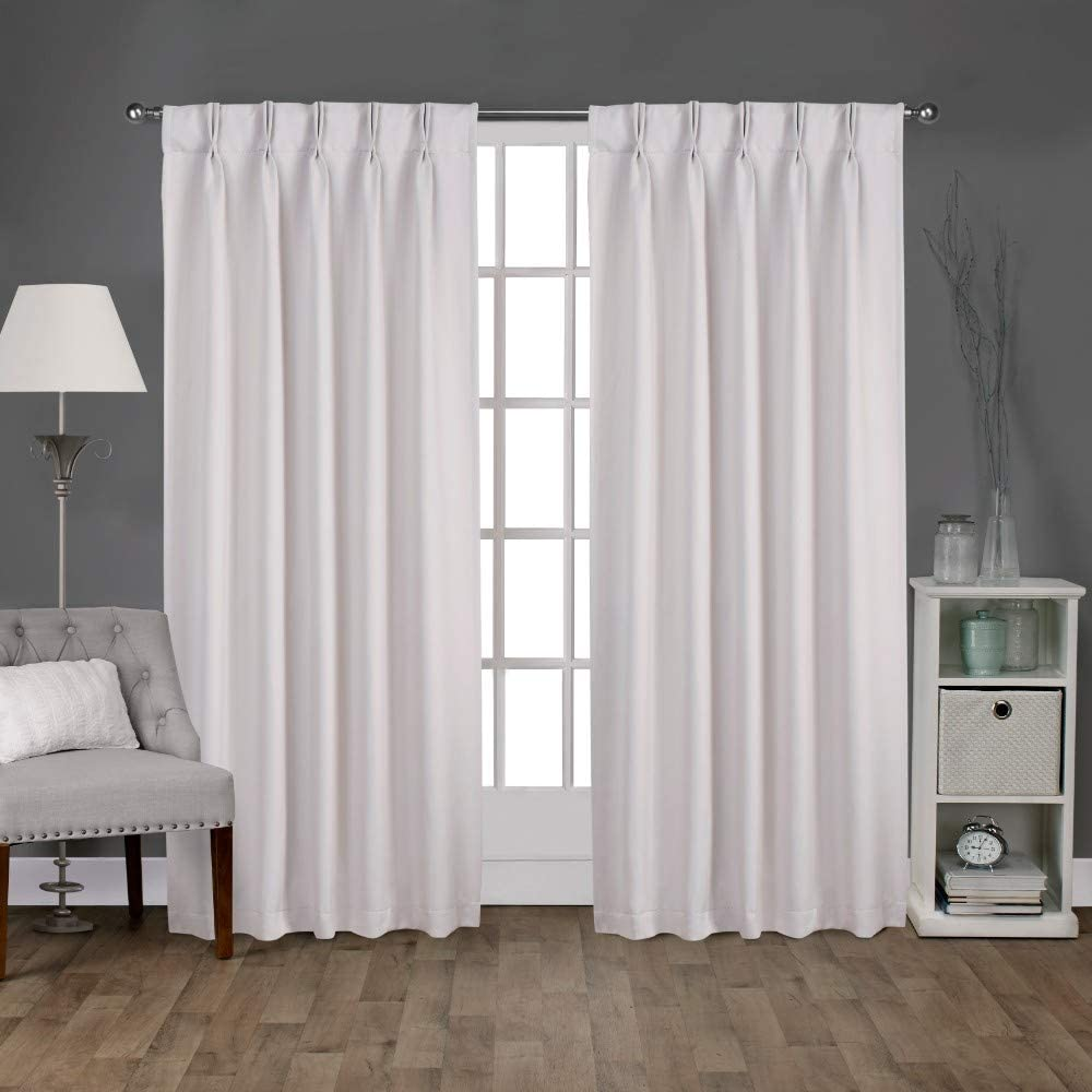 Amazon Com Exclusive Home Curtains Sateen Twill Woven Blackout Pinch Pleat Curtain Panel Pair 96 Length Vanilla 2 Count Home Kitchen