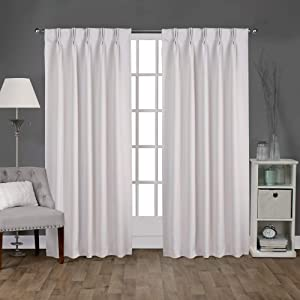 "Exclusive Home Curtains Sateen Twill Woven Blackout Pinch Pleat Curtain Panel Pair, 96"" Length, Vanilla, 2 Count"