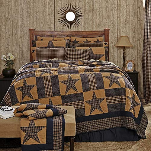 HNU 1 Piece Star Pattern Quilt Lux King, Classic Chic Rustic Country Style Farmhouse Cabin Patchwork Rustic Touch Embroidered Plaid Soft Cozy Comfy Cotton Red Beige Bedding