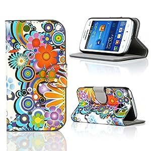 Kit Me Out ES ® Funda estampada apertura lateral cuero sintético + Cargador para coche + Protector de pantalla con gamuza de microfibra para Samsung Galaxy Fresh S7390 - Multicolor Círculos con flores